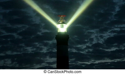 night view on the creac'h lighthouse in ouessant island, brittany, france. This is the most powerful lighthouse in the world.