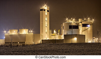 Night view on the factory