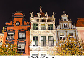 Night view on the market square in the old town center of Gdansk, Poland