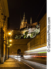 Night view on the street of Prague