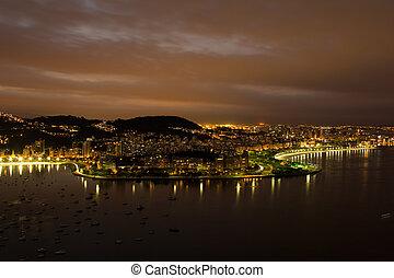 Night view over Rio de Janeiro from Sugar Loaf peak