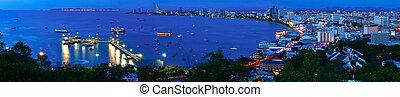 Night view panorama of Pattaya city, Thailand