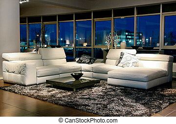 Night view - Spacious living room with beautiful view ...