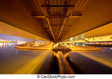 Night View under the bridge. Kazan, Russia