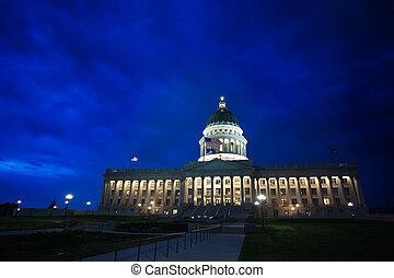 Night view, Utah Capitol building, Salt Lake City