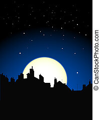village rooftops silouettes on moon and stars sky background
