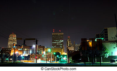 picture of night view of winston salem downtown skyline, Winston-Salem is the tobacco hub of USA,