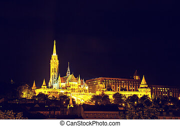Night View with Matthias Church in Budapest, Hungary. Vintage look
