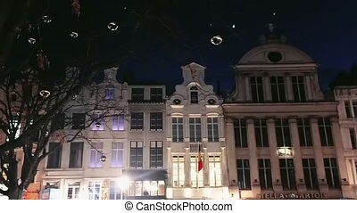 Night views of Brussels, Belgium, architecture and historical buildings, travel and sightseeing