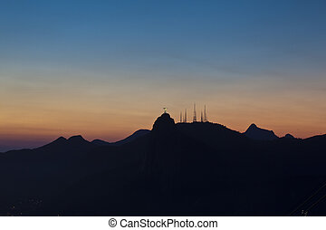 Night views of Jesus and Corcovado from Sugar Loaf Mountain