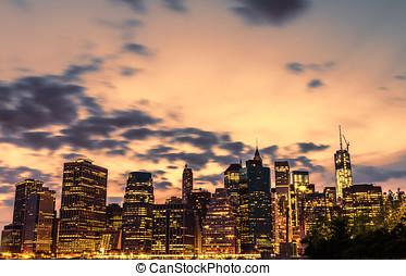 Night views of New York City, USA