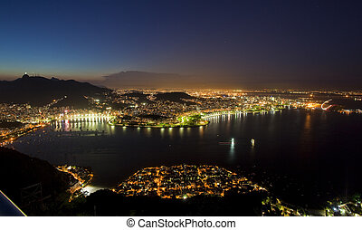 Night views of Rio De Janeiro Brazil from Sugar Loaf...