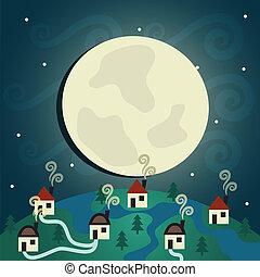 Night Village - abstract background, Night Village (EPS 10...