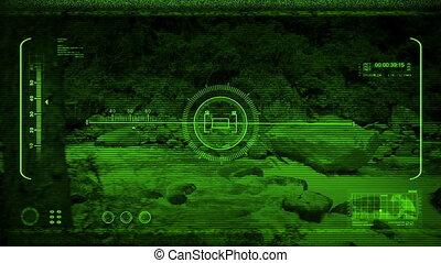 Night Vision Drone POV Passing Wild River - Drone pov with...