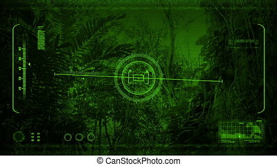 Night Vision Moving Past Jungle Cliffs - Drone night-vision...