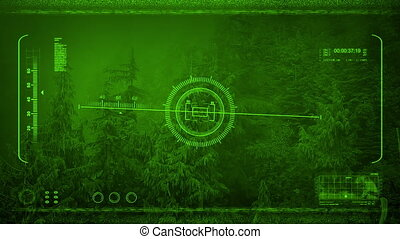 Night Vision POV Flying Over Misty Forest