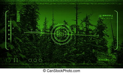 Night Vision POV Flying Past Snowy Trees - Night-vision view...