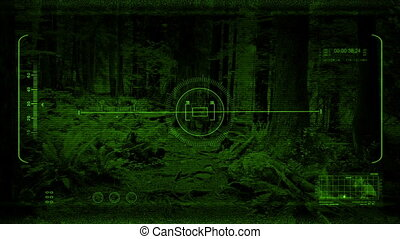 Night Vision POV Gliding Along Forest Path - Night time view...
