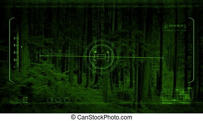 Night Vision POV In National Park - Nightvision view from a...