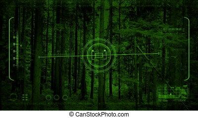 Night Vision POV Moving Sideways Through Woods - Drone pov...
