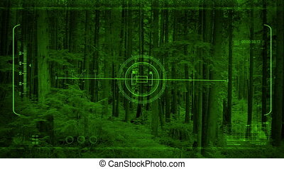 Night Vision POV Moving Through Forest - Night vision drone...