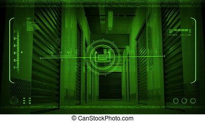 Night Vision POV Moving Through Storage Facility - Night...