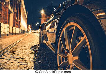 night., voiture, rue ville, moderne