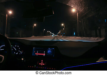 night., voiture, rue ville, mouvements, hiver