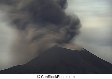 Night volcano eruption. Anak Krakatau