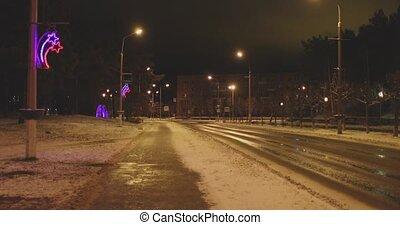 night walk in a provincial town in winter.
