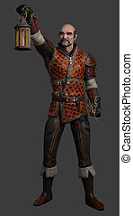 Medieval or fantasy night watchman with sword, holding up a lantern, 3d digitally rendered illustration on grey background