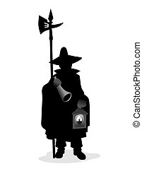 watchman - night watchman with typical uniform, halberd and...