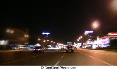 night way car - Night way and car