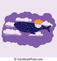 Night whale flies through the sky