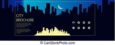 Night wide panorama simple minimalistic city skyline...