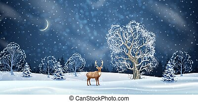 Night winter background. Vector background with snow-covered hills, blizzard and a deer