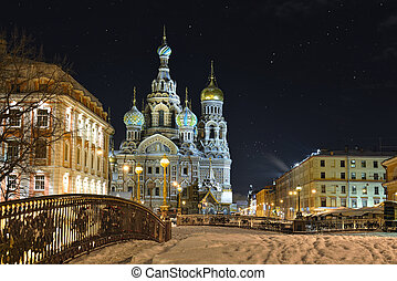 Night winter Church Savior on Blood in St-Petersburg -...