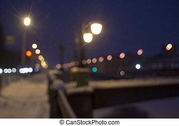 Night winter landscape in amazing city