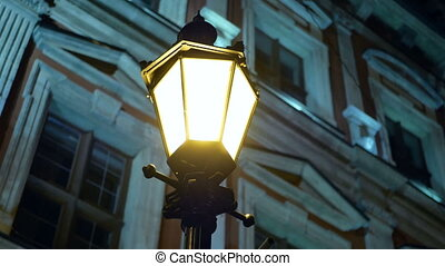 Night winter street lamp looping background