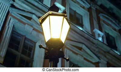 Night winter street lamp