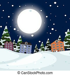 Night winter town landscape