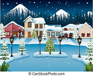 Night winter village landscape with a mountain background
