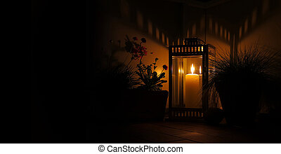 night with candle and lantern - candle in lantern by night...