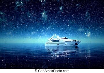 night., yacht, mer