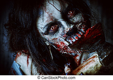 night zombie - Scary bloody zombie girl with an ax....