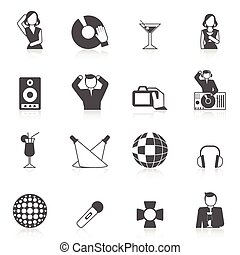 Nightclub Icon Set - Nightclub icon set with vinyl dj...