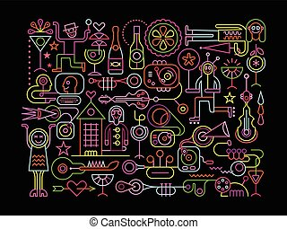 Nightclub Party Vector Illustration - Neon colors on a black...