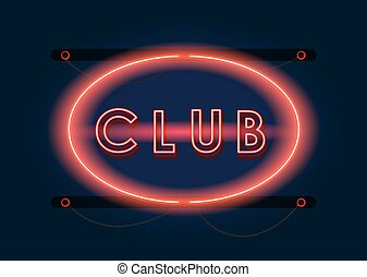 Nightclub red neon sign