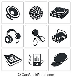 Nightclub vector icon collection on a white background