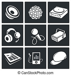 Nightclub vector icon set - Nightclub vector icon collection...